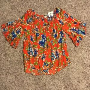 Hot coral floral print top. Earrings included!